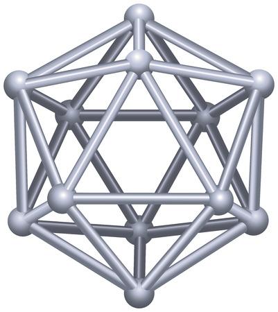Icosaedro un sólido platónico en la geometría, un poliedro con veinte caras triangulares, treinta aristas y doce vértices estructura vectorial 3D aisladas sobre fondo blanco
