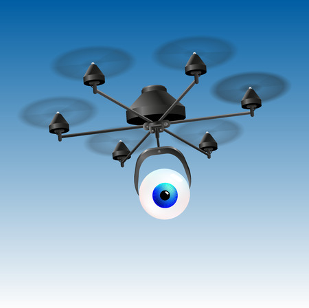 drone: Drone or unmanned aerial vehicle  UAV  with an eye instead of a camera  Illustration