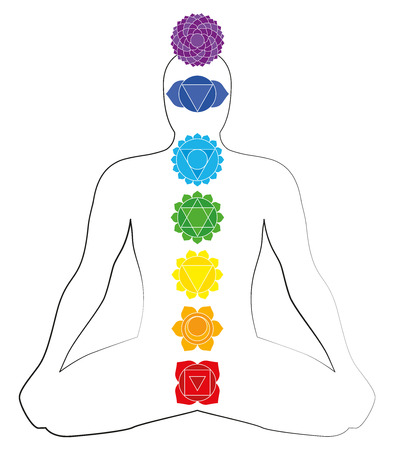 energy healing: Illustration of a meditating man in yoga position with the seven main chakras  Illustration