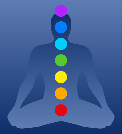 Illustration of a meditating man in yoga position with the seven main chakras  Blue background  Illustration