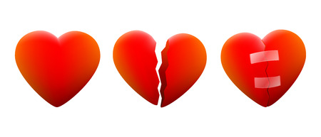 Three hearts, a cheerful heart, a contrite heart and one that is repaired again  Illustration