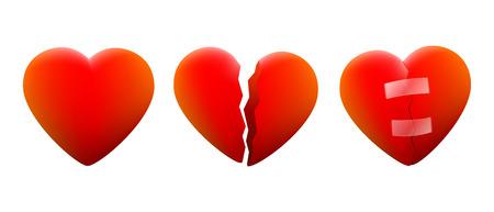 pareja discutiendo: Tres corazones, un corazón alegre, un corazón contrito y una que se repara de nuevo Vectores
