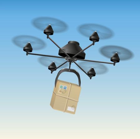 Drone oder unbemannte Luftfahrzeug UAV Transport eines Pakets Illustration