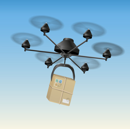 Drone or unmanned aerial vehicle  UAV  transporting a package  Illustration