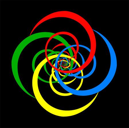 Psychedelic spiral of basic colors  Black background