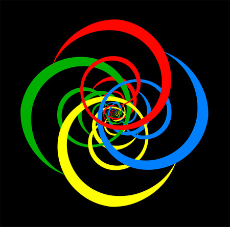 Psychedelic spiral of basic colors  Black background  Vector