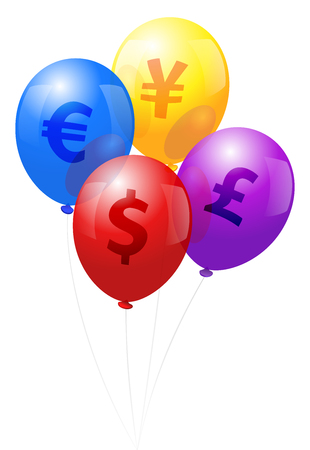 Four balloons labeled with the symbols of the world currencies Dollar, Euro, Yen and Pound