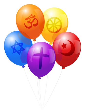 Five balloons, which are labeled with symbols of the five world religions  Christianity  purple , Hinduism  orange , Judaism  blue , Islam  red  and Buddhism  yellow   Vector