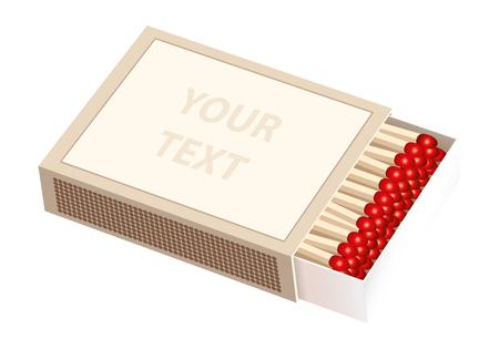 caja de cerillas: Abrir empuj� caja de cerillas con la etiqueta en blanco Vectores