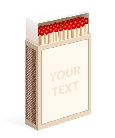 caja de cerillas: Caja de cerillas abierto en posici�n vertical con la etiqueta en blanco Vectores