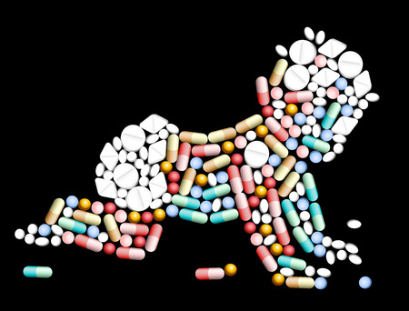 Tablets, pills and capsules, that shape the silhouette of a baby  Vector