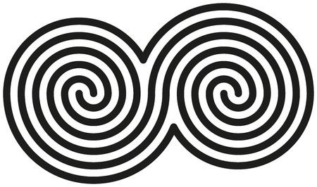 Celtic Doble Espirales - Blanco y dobles espirales negras están formando un símbolo celta
