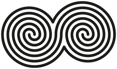 celts: Celtic Double Spirals - White and black double spirals are forming a celtic symbol  Illustration