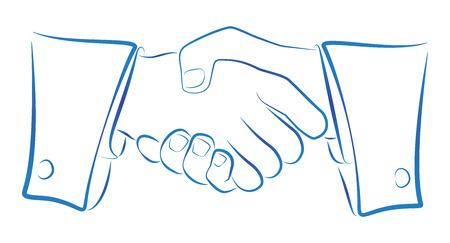 conciliation: Ink blue outline illustration of a handshake