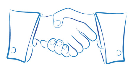 Ink blue outline illustration of a handshake