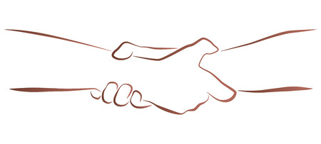 Outline illustration of a firm helping, rescuing  handshake  Vector