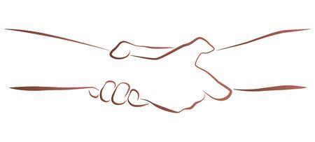 fermo: Outline illustrazione di una porzione ditta, il salvataggio stretta di mano