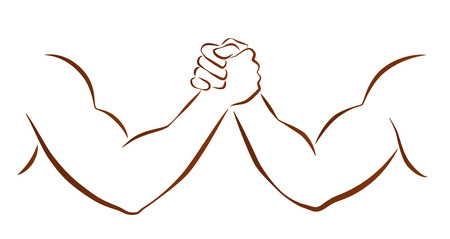 Outline illustration of two muscular arms that are wrestling  Vector