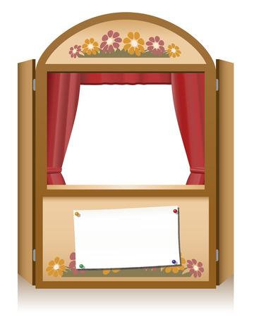 Houten poppenkast booth met lege enscenering aankondiging banner, dat kan individueel worden beletterd