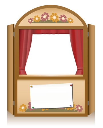 puppet theatre: Wooden punch and judy booth with blank staging announcement banner, that can individually be lettered