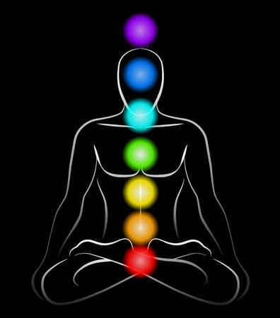 Illustratie van een mediterende man in yoga positie met de zeven belangrijkste chakra's Zwarte achtergrond Stock Illustratie