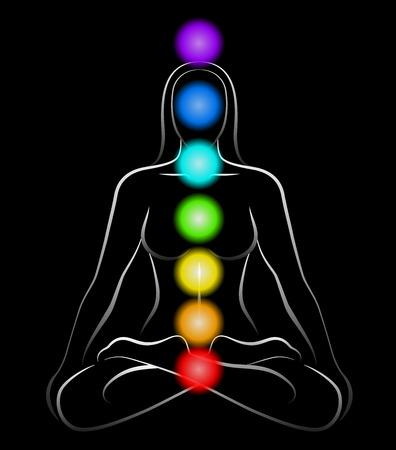 Illustratie van een mediterende vrouw in yoga positie met de zeven belangrijkste chakra's Zwarte achtergrond Stock Illustratie