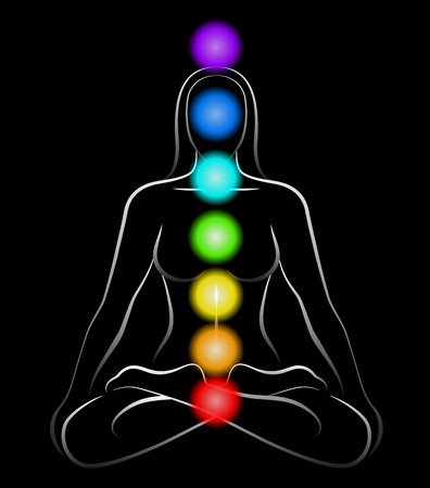 Illustration of a meditating woman in yoga position with the seven main chakras  Black background  Illustration