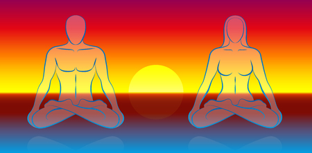 Dual Soul Meditation scenery, where a male and a female soul are levitating over the ocean at sunset