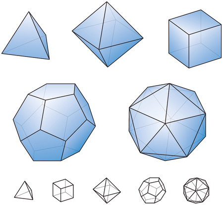 polyhedron: Platonic Solids With Blue Surfaces - regular, convex polyhedrons in Euclidean geometry - tetrahedron, hexahedron, octahedron, dodecahedron and icosahedron  Illustration