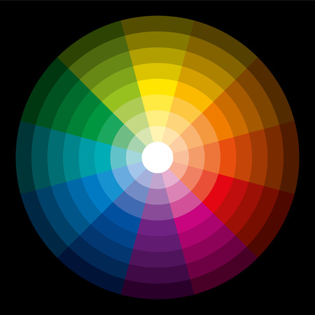 brightest: Colore Circle Dark Light - Dodici colori di base in un cerchio, laureato presso il pi� luminoso al gradazione pi� scura Vettoriali