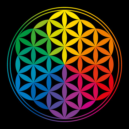 Flower Of Life Rainbow Colors with rainbow colors, a geomtric figure, composed of multiple evenly-spaced, overlapping circles  A decorative motif since ancient times, forming a flower-like pattern with the symmetrical structure of a hexagon