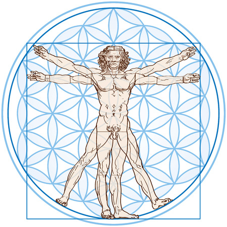Vitruvian Man fits in the Flower Of Life  Vector illustration on white background using transparencies and gradients  Ilustracja