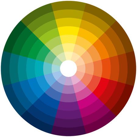Kleur Cirkel Licht Donker - Twaalf basiskleuren in een cirkel, afgestudeerd aan de helderste naar de donkerste gradatie