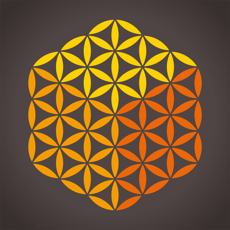 Flower of Life Cube - With three different colors it is possible to create a cube from the Flower of Life  Isolated vector on dark background  Stock Vector - 27328411