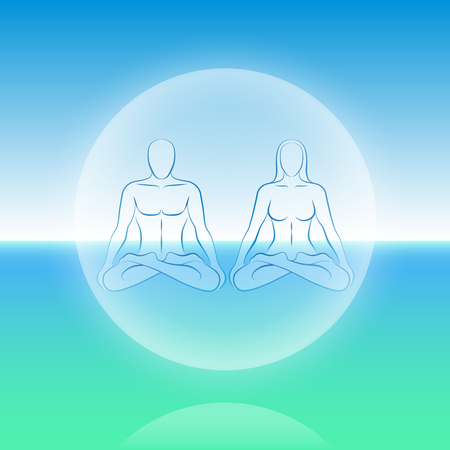 new age: Dual Soul scenery - a male and a female soul get together in a sphere levitating over the ocean
