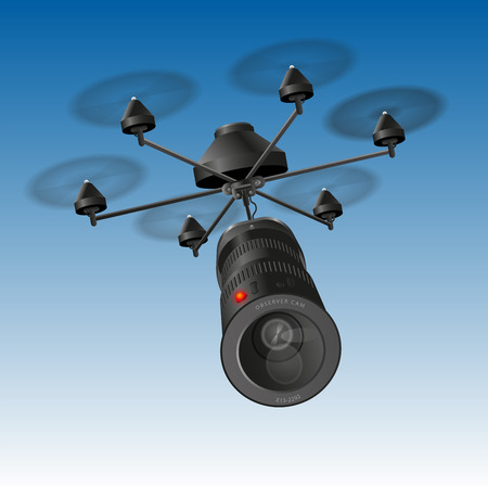 drone: Drone or unmanned aerial vehicle  UAV  with an observing camera