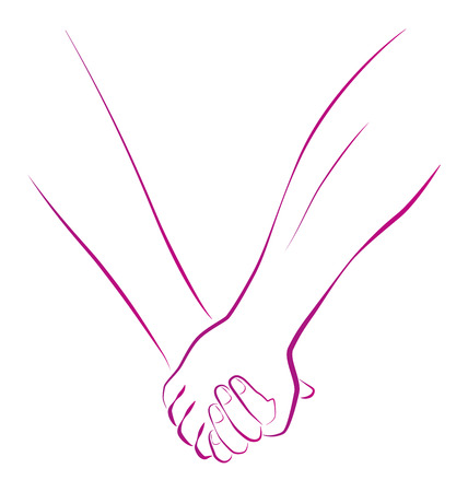 girls holding hands: Outline illustration of a female and a male person holding hands
