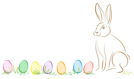 osterfest: Illustration of easter bunny and seven colorful easter eggs lying in the grass