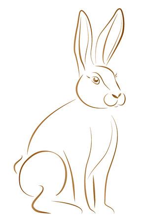 gnawer: Outline illustration of a sitting rabbit with big ears  Illustration