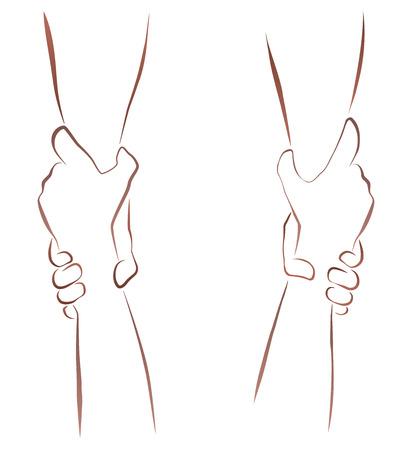 fraternidad: Esquema ilustración de un par de antebrazos en un apretón rescate