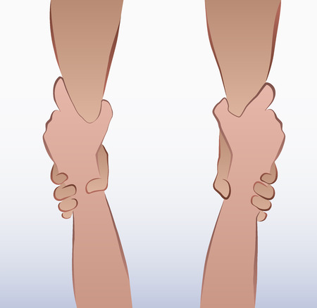 Illustration of a pair of forearms in a rescuing grip