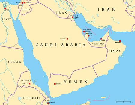 나일 강: 아라비아 반도 정치지도