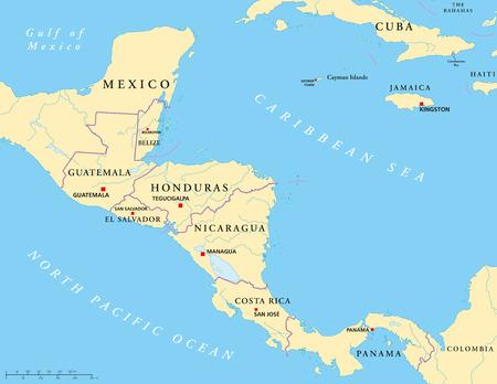 Amérique centrale Carte politique