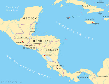 central america: Central America Political Map Illustration