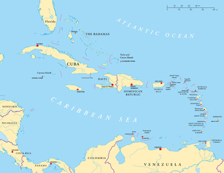 bahamas map: Caribbean - Large And Lesser Antilles - Political Map