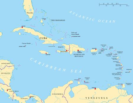 Caribbean - Grote en Kleine Antillen - Politieke Kaart