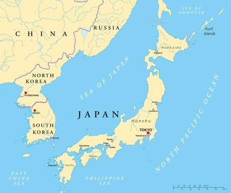 Japan, Noord-Korea en Zuid-Korea Politieke Kaart