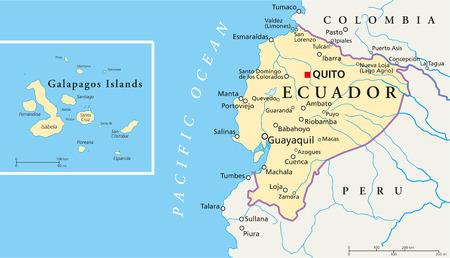 ecuador: Ecuador en de Galapagos eilanden Politieke Kaart Stock Illustratie