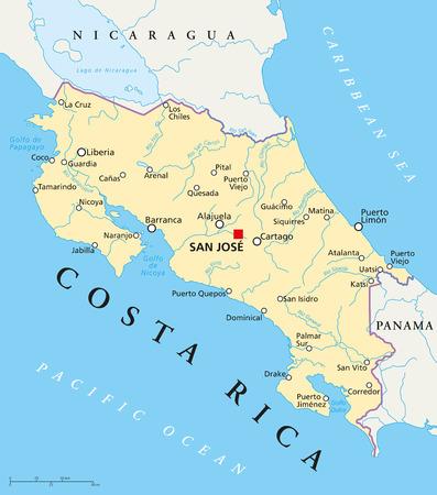 Costa Rica Political Map Vector