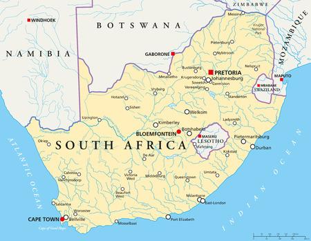 mapa de africa: �frica del Sur Mapa Pol�tico Vectores